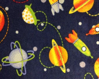 One Half Yard of Fabric Material - Space Ships and Planets FLANNEL