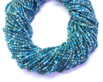 Natural Blue Apatite Beads Micro Faceted 2mm 3mm 4mm Genuine Apatite Gemstone Tiny Blue Apatite Beads Small Blue Beads Semi Precious Stones