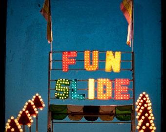 Fine Art Photo, Carnival Decor, Wall Art, Neon Lights, Carnival Ride, Childrens Room Wall Decor, Rainbow Colors, Fun, Fine Art Print, Circus