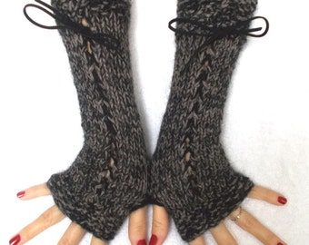 Fingerless Gloves Corset Wrist Warmers in Grey Brown and Black Tweed with Suede Ribbons Victorian Style