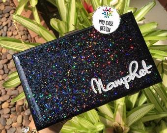 Black clutch, clutch name, purse bag, glitter bag, custom purse, custom clutch,