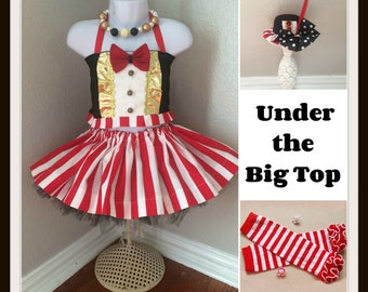 Pageant Circus Ringmaster tutu and top costume, Pageant Carnival outfit,, semi glitz pageant