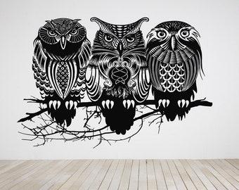 Wall Art Vinyl Sticker Tribal Owl 3 Owls Set Bird Robin Crow Raven Nest Branch Tree House Parrot Wild Life Forest ZX479
