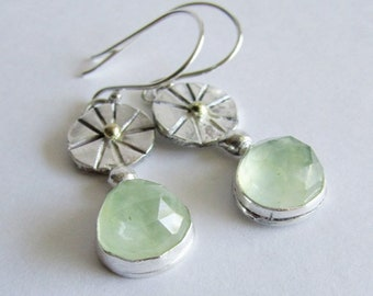 Prehnite Earrings - Mixed Metals Earrings - Sterling Silver and 14K Gold - Sea Green Stone Earrings - Anniversary Gift