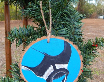 Manta Ray Hand painted wood slice ornament