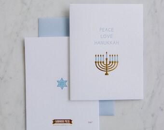 Peace, Love, Hanukah - Menorah Letterpress gold foil card
