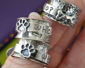 Who Rescued Who? Sterling Spinner Ring Cat or Dog Meditation Ring Fidget Ring