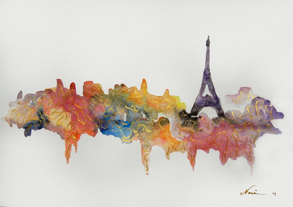 Finest Original Paris watercolor painting Paris artwork Paris RZ96