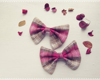 Plaid Hair Bow in Cherry Blossom - Autumn, Fall, Soft, Pink Plaid Hair Bow, Perfect Gift for Her and Fall Fashion Hair Accessory