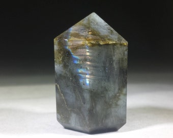 NATURAL LABRADORITE Carved Faceted Point Gemstone Crystal  Point