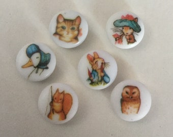 Lot 6 Beatrix Potter Character Animal Picture Buttons Vintage Variety