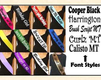 Personalised Sashes in Various Colours for Any Occasion