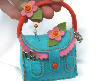 Sewing Collectible Felt Pincushion, Turquoise Handbag Pin Cushion with Pink and Orange Felt Flowers