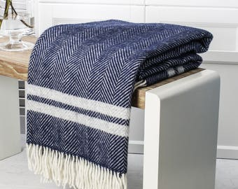 Navy And Grey Stripe Wool Throw