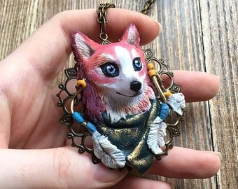 Wolf necklace Forest Necklace Indian jewelry magical necklace animal totem husky indian
