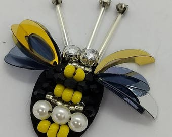 Set of 2 Applique Bumble Bee Hand Beaded Bees from USA -  free domestic shipping
