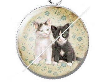 Cabochon 25mm 10 kitty cat pendant