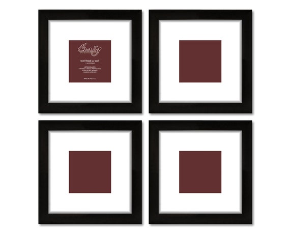 Craig Frames, 9x9 Inch Black Picture Frame, White Mat with 5 by 5 ...