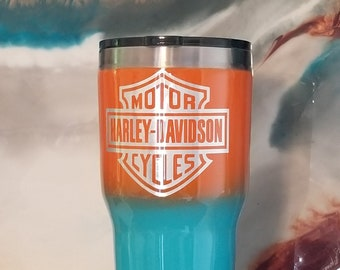 Personalized Harley Davidson/Miami Dolphins colors - 30 oz Ozark Trail Stainless Steel Tumbler. Ombre Tumbler, Made to Order