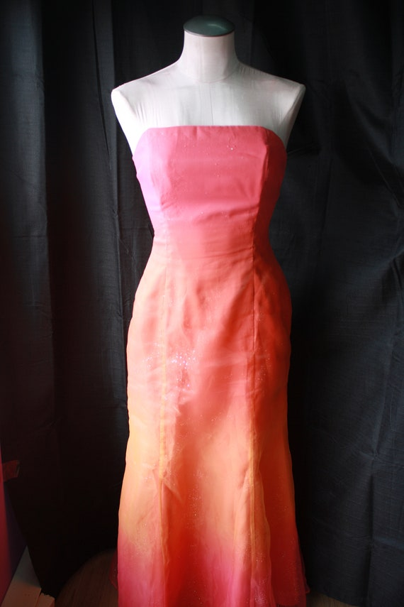 Prom Dress/Ombre Dress/Pink Dress/Organza Gown/Corset