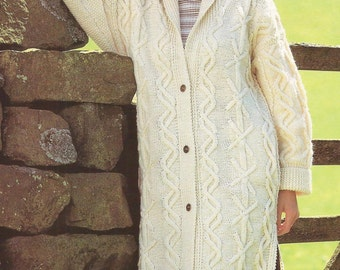 Ladies Aran Long Line Coat Jacket  - PDF Aran knitting pattern