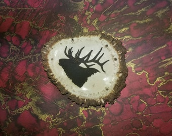 Genuine Elk Antler Belt Buckle With Laser Engraved Elk