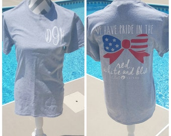 Monogrammed American Pride Short Sleeve Shirt. American Flag Shirt. Fourth Of July Shirt. Monogrammed Shirt. Memorial Day Shirt. July 4th.