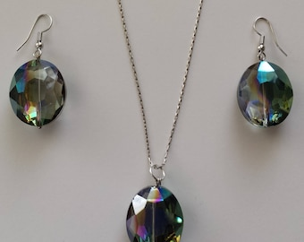 Smokey Rainbow Faucet Swarovski Crystal. Sterling Silver Pendant Necklace And Earrings Set. In Sterling Silver.