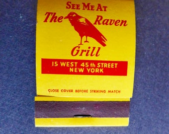 Vintage Match Book Red Raven Grill/ Red Raven Grill, NYC/ Vintage Matchbook/ Red Raven Grill Matchbook Advertising