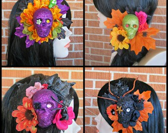 Halloween Hair Clips, Day of the Dead Hair Clips, Skull Hair Clips, Spider Hair Clips, Flower Hair Clips, Halloween, Día de los Muertos