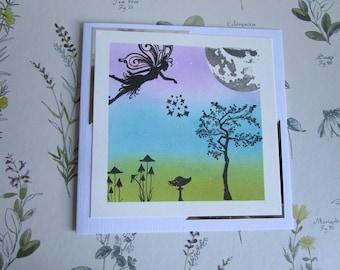 Fairy dust card. Sprinkling fairy dust card. Moon card. Magical fairy card. Hand stamped card. Silhouette  card.