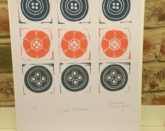 4. 'Spare Buttons' original linocut print 1 of 5. Pink, blue and grey buttons hand carved and printed.
