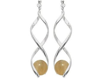 Swirl silver plated - citrine earrings