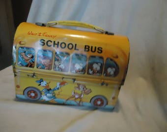 Vintage 1960's Walt Disney Metal School Bus Dome Lunch Box With Thermos, Lunchkit, collectable