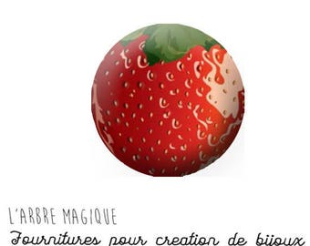 2 cabochons glue Strawberry glass 18 mm - ref 1184