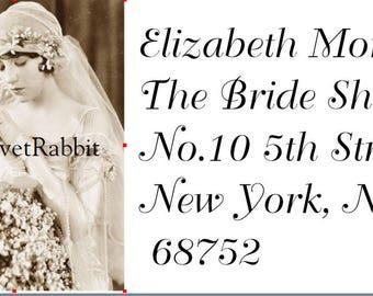 Return  address labels self adhesive*18 per sheet*Custom designed*Beautiful 1920's Bride