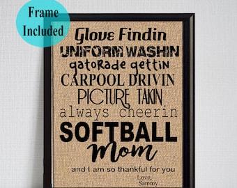Softball Mom Gift/ Mother's Day Gift Softball Mom/ Softball Mom Sign/ Framed Print for Mother's Day/ Softball Sign/ Mom of a softball player