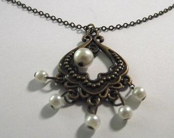 Pearl Antique bronze Pendant on a Delicate Chain Necklace