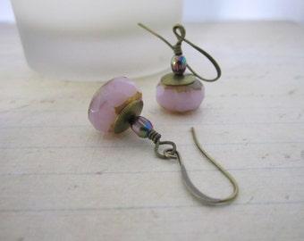 Czech Glass Beaded  Earrings with Picasso Finish - Dangle/Drop Earrings - Pale Purple/Pink