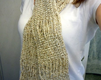 Soft and Warm Tan Crocheted Scarf