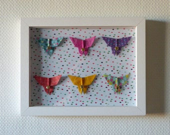"Origami butterflies ""Happy"" - decorative poster wall baby and children"