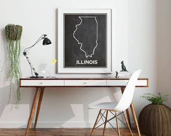 Illinois Map of Illinois Map Print Illinois Poster Home State Poster State Chalkboard State Prints State of Illinois Wall Art Map Print