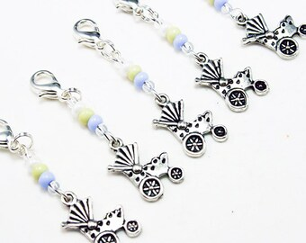 Baby Carriage Charm. Beaded Charm for New Baby. New Mom Baby Shower Charm. BSC068