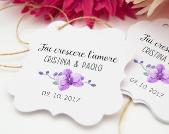 Flowers labels for wedding, 24 Tags Thank you, labels make love grow, labels favors