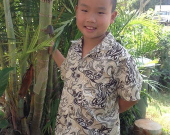 Shark petroglyph Boy's Hawaiian Aloha Shirt Made on Kauai Hawaii