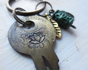 Lotus Keychain -  Gift for Mentor, Teacher, Yogi, Friend - Recycled Brass Key