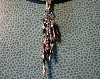 Broom Straw Cast Sterling Silver Pendant