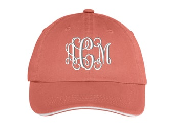 Ladies Sandwich Bill Cap - Monogrammed. Monogram Ladies Hat With Striped Closure.  Monogram Baseball Hat.  Baseball Cap. SM-LC830