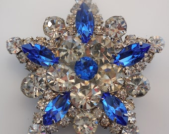 Vintage Crystal and Sapphire Rhinestones Chaton and Marquise Cut Rhodium Brooch Pin
