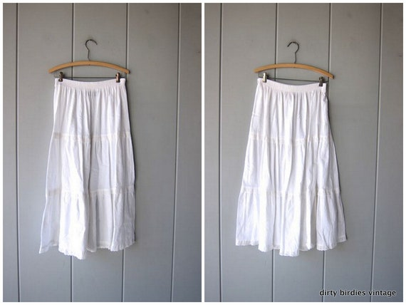 White Cotton Skirt 80s Midi Skirt Long Cotton Spring Summer Skirt High Waist Tiered Skirt Minimal Womens Medium